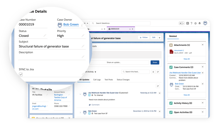 Salesforce CRM custom integration settings panel with Jira
